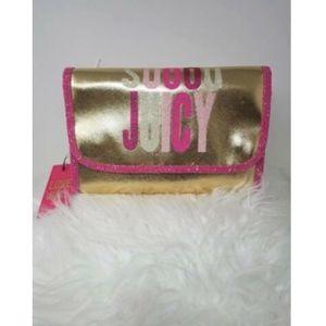 JUICY COUTURE COSMETIC MAKEUP BAG pink/gold. Glitt